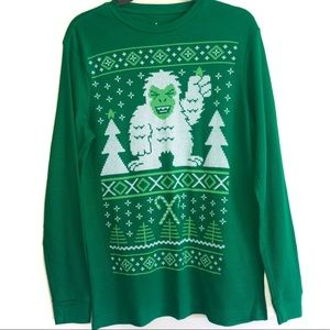 Abominable Snowman Green Christmas Thermal Shirt